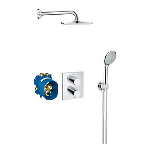 Grohe Grohtherm 3000 Cosmopolitan Square Thermostatic Mixer Shower Set Chrome 34408000
