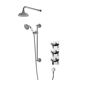 Hemsby Heritage Concealed Valve with Fixed Head and Riser Kit Chrome SHPDUAL03