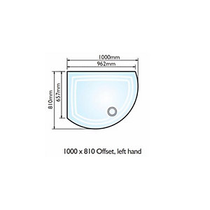 Kudos Dcos108Lw Concept 2 Shower Tray Offset Left Hand 1000x810mm White