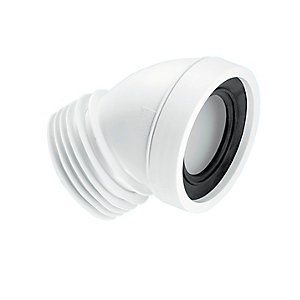 McAlpine 45 Degree Angle Rigid WC Connector White WC-CON16