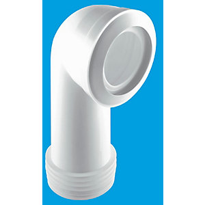 McAlpine 90 Degree Bend Long Macfit WC Connector White MAC-8L