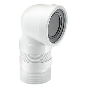 McAlpine 90 Degree Flexible WC Connector White (Short) WC-CON8F18
