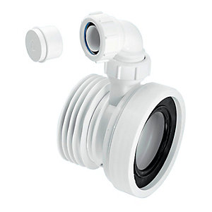 McAlpine Straight Rigid WC Connector with Vent Boss WC-CON1V