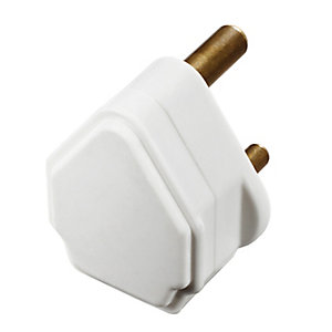 Masterplug PT5W-01 White 5A Round Pin Plug Sleeved Pins