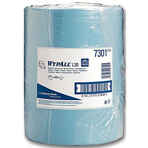 Wypall L30 7300 2 Ply Wipes Blue Roll 500 Sheet 300 x 240mm