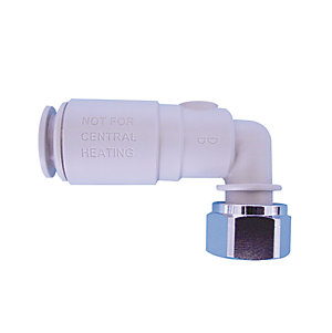 JG Speedfit Plastic Angle Service Valve With Tap Connector 15mm x 1/2in 15SVBTC