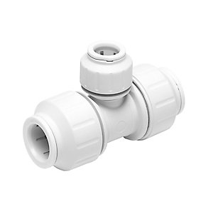JG Speedfit Reduced Tee White 28mm x 28mm x 22mm - PEM3028DW