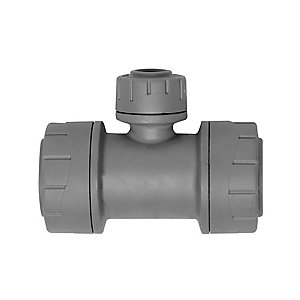Polypipe PolyPlumb Branch Reduced Spigot Tee Grey 22mm x 22mm x 15mm - PB1222