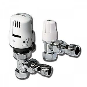 Alcetnic Angled Twin Pack TRV And Lockshield White 15mm 200455 LTC
