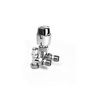 PlumbRight 15mm Angled TRV + Lockshield Chrome Head TP15PACKACP