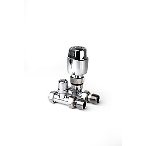 PlumbRight 15mm Straight TRV + Lockshield Valve Chrome Head TP15PACKSCP