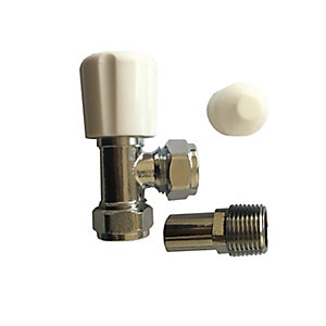 Plumbright 15mm White Angled Rad Valve with Lockshield