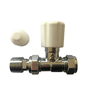 Plumbright 15mm White Straight Rad Valve with Lockshield