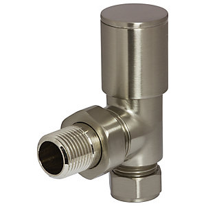 Towelrads Angled Manual Valves Round Brushed Nickel 1/2""