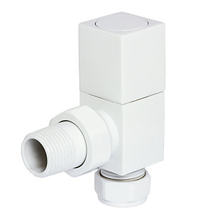 Towelrads Angled Manual Valves Square White 1/2""