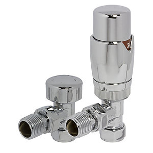 Towelrads Angled TRV and Lockshield Valves Round Chrome 1/2""