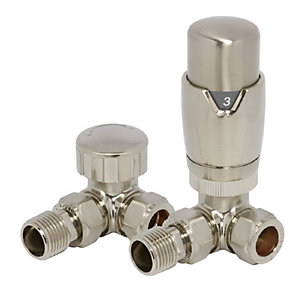 Towelrads Corner TRV and Lockshield Valves Round Brass Nickel 1/2""