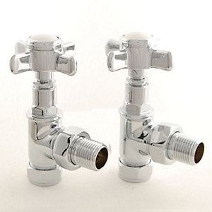 Towelrads Cross Head Angled Manual Valves with Lockshield Chrome 1/2""