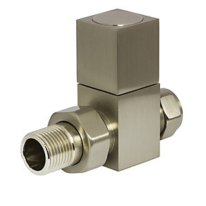 Towelrads Straight Manual Valve Square Brushed Nickel 1/2""