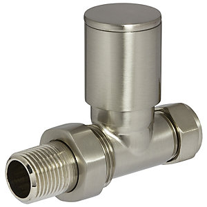 Towelrads Straight Manual Valves Round Brushed Nickel 1/2""