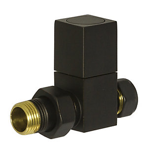 Towelrads Straight Manual Valves Square Black 1/2""