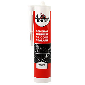 4TRADE General Purpose White Silicone Sealant 310ml