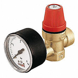 Altecnic 313430 Female x Female Thread 3 Bar Safety Relief Valve Complete With Gauge 1/2inch