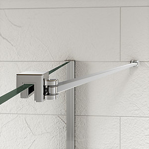 Kudos Ultimate2 'S'hower Enclosure Panel Angled Glass To Wall 'S'tabiliser Including Rail 500 mm 10WPGW50