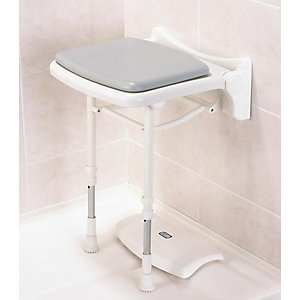 Akw 02000P 2000 Series Compact Fold Up Shower Seat & Pad Grey