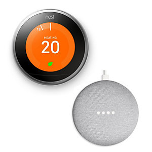 Google Nest Smart Thermostat - Stainless Steel - 3rd Generation with Google Home Mini