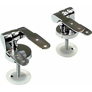 4TRADE Chrome Plated Wooden Toilet Seat Hinges (Pair)