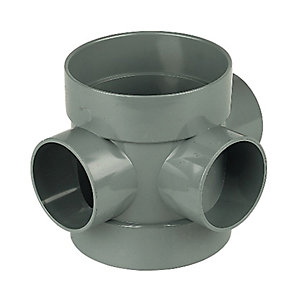 Floplast 110mm Grey 110mm x 40mm Boss Pipe Solvent Socket/Solv Sock SP583g