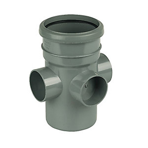 Floplast 110mm Grey Soil Pipe 3 Socket Boss Pipe Socket/Spigot SP581g