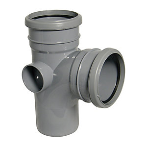 Floplast 110mm Grey Soil Pipe 92.5 Branch Double Socket/Spigot SP190g