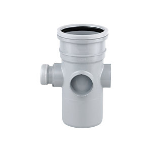 Wavin OsmaSoil System Single Socket Bossed Pipe Grey 110mm 4S589G
