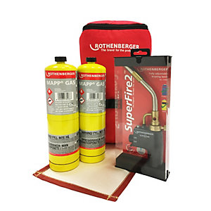 Rothenberger Hot Bag Set - Includes Super Fire 2 Torch, 2 x Map Gas, Supermat Solder Mat & Hot Bag Carry Bag.