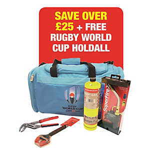 Rothenberger Rugby World Cup Set Including Mapp Gas, Superfire 2, 6 Inch Wide Jaw Wrench, Rogrip M 10 Inch & Free Licensed Rugby World Cup Holdall