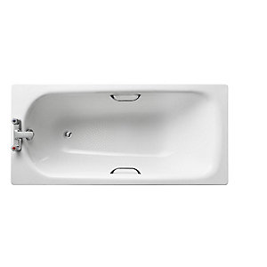 Armitage Shanks Sandringham Bath 150x70cm Steel with chrome plated grips 2 Tapholes, anti-slip* White