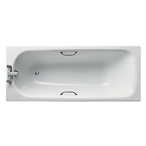 Armitage Shanks Sandringham Water Saving Bath 170x70mm Steel, with chrome plated grips 2 tapholes, anti-slip* (130 Litres) White