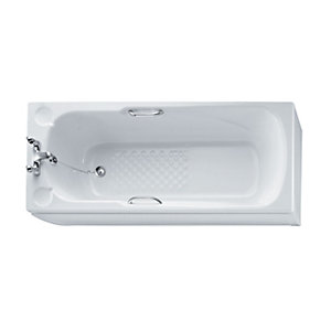 Ideal Standard Sandringham Straight Bath Water Saving 1700x700mm 2 Tap Holes