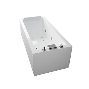 Novellini Calos Straight Whirlpool Bath 1700x750mm No Tap Hole