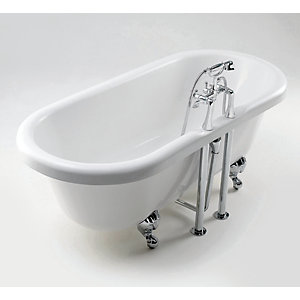 iflo Victoria 2 Tap Hole Double Ended Roll Top Bath 1685x745mm