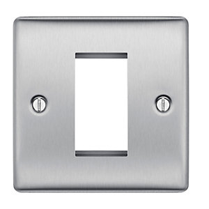 BG Brushed Steel 1 Module Front Plate (25 x 50) - NBSEMS1