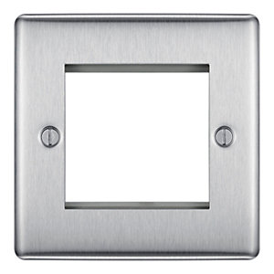 BG Brushed Steel 2 Module Front Plate (50 x 50) - NBSEMS2