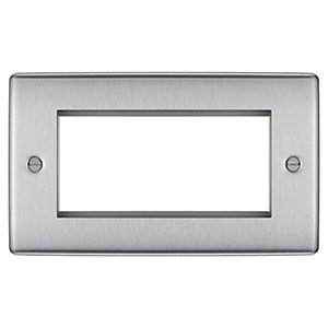 BG Brushed Steel 4 Module Front Plate (100 x 50) - NBSEMR4