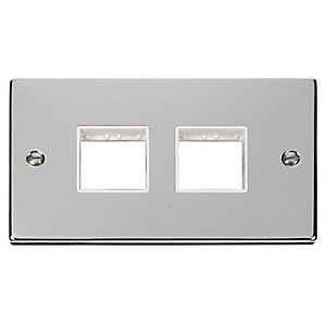 Deco VPCH404WH 2 Gang Minigrid Unfurnished Plate - 2 x 2 Apertures - White - Polished Chrome