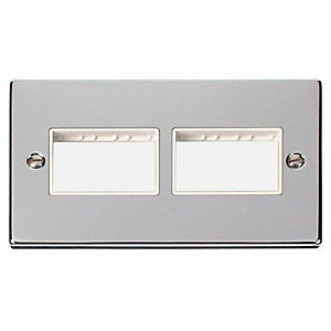 Deco VPCH406WH 2 Gang Minigrid Unfurnished Plate - 2 x 3 Apertures - White - Polished Chrome