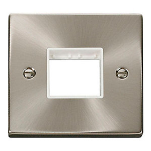 Deco VPSC402WH 1 Gang Minigrid Unfurnished Plate - 2 Apertures - White - Satin Chrome