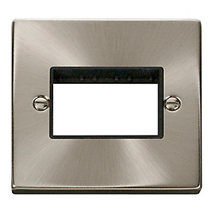 Deco VPSC403BK 1 Gang Minigrid Unfurnished Plate - 3 Apertures - Black - Satin Chrome