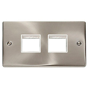 Deco VPSC404WH 2 Gang Minigrid Unfurnished Plate - 2 x 2 Apertures - White - Satin Chrome